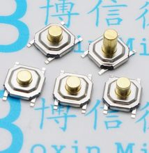 Interruptor tátil do botão do pwb de 50 pces 4x4mm micro interruptor momentâneo mini botão chave do interruptor do tato smd 4*4*1.7/2/2.3/2.5/3/3.5/4.3mm