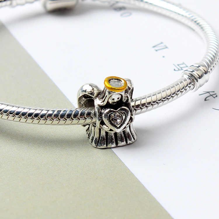 Liga de alta Qualidade Bonito Asa Ângulo Coração Encantos Beads Fit Pandora Pulseiras & Pulseiras para Mulheres Que Fazem Jóias Bugiganga