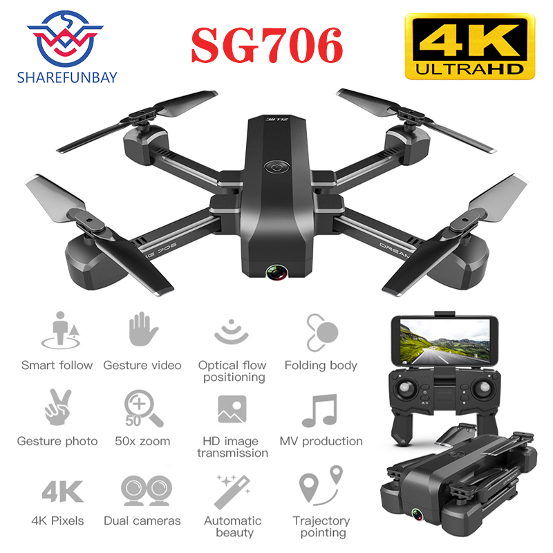 SG706 Drone 4K WiFi 1080p Dual Camera Quadcopter Optical Flow Stability Height RC Helicopter RC Toy Drone With Camera