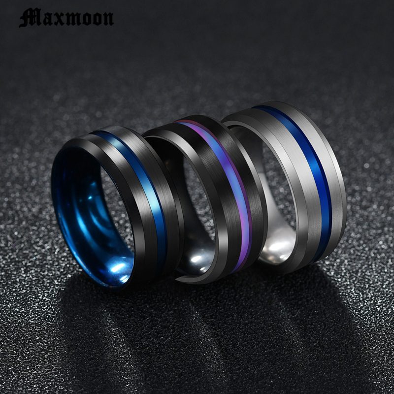 Maxmoon Hot Sale Groove Rings Black Blue Stainless Steel Midi Rings For Men Charm Male Jewelry Dropshipping(China)