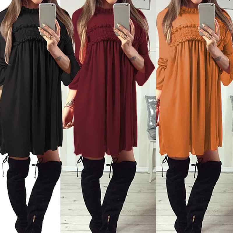Solid Color Loose A-line Dress Pleated Women Lotus Sleeve Chiffon Dresses