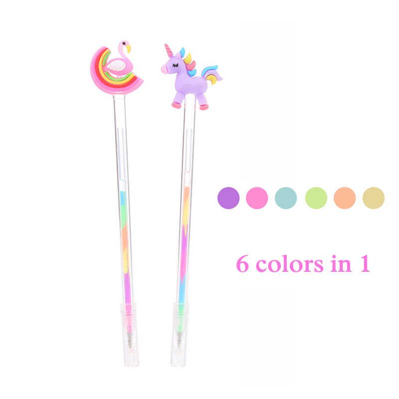 6 Colori Kawaii Unicorno Evidenziatore Penna di Indicatore Carino Fenicottero Penna Della Novità Sketch Marker Penna per I Bambini Della Scuola Forniture di Cancelleria