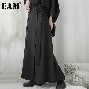 [EAM] falda de cintura alta negra breve Irregular vendaje largo temperamento medio cuerpo mujeres moda marea nueva primavera otoño 2020 1U964