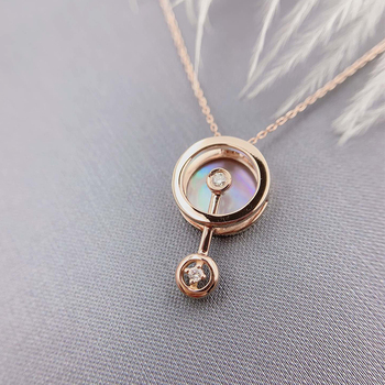 ANI 18K Solid Rose Gold Pendant Necklace Real Natural Diamond Fine Jewelry Women Engagement Necklace Birthday Gift Pear Shell 2