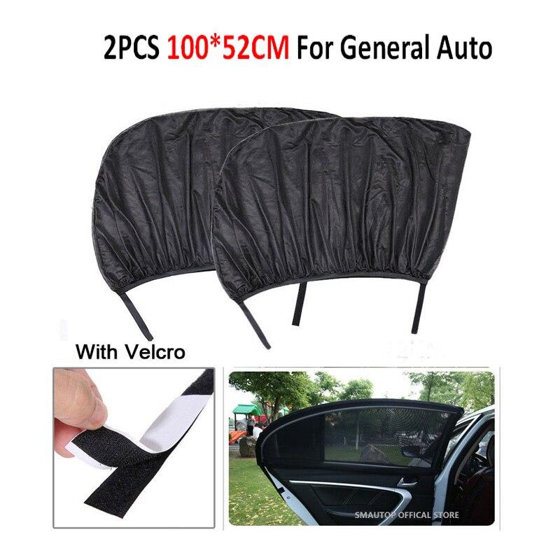 2 adet araba oto güneş gölge kapağı arka yan pencere çocuklar bebek 100*52cm UV koruma blok örgü araba arka yan pencere güneşlik gölge