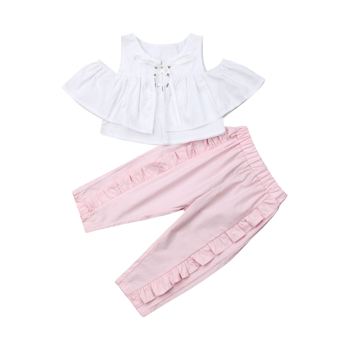 1-6Y Toddler Kid Girls Clothing Set White Ruffles Lace Up T Shirt Top + Pants Summer Children Girls Costumes