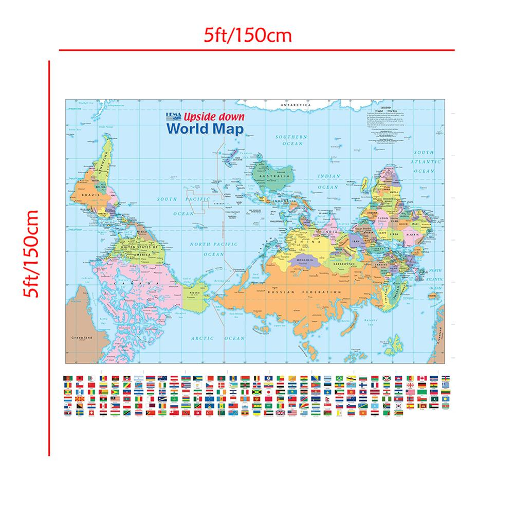 Non-woven Vinyl Spray Map 150x150cm Upside Down World Map With National Flag For Culture And Education