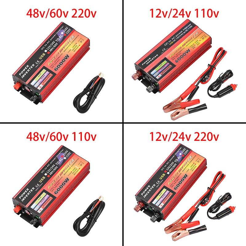 Solar Inverter 12V 220V 1000W 6000W Pe Ak Spannung Konverter Transformator DC 12V & 24V 48V & 60V Zu AC 110V/220V Auto Anzupassen Inversor