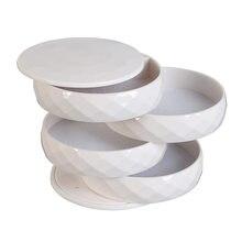 4 camada 360 graus de rotação de madeira jóias caixa corda acessório organizador colares pulseiras anéis brincos titular