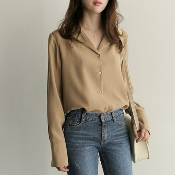 Womens Tops And Blouses Solid White Chiffon Blouse Office Shirt Blusas Mujer De Moda 2021 Long Sleeve Women Shirts Clothes A405 4