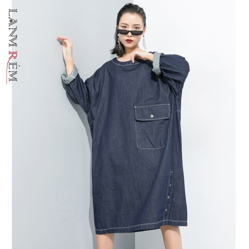 LANMREM Can Ship 2020 Spring Fashion New Women Clothing Round Neck Pullover Denim Dress With Pocket Personality Big Size YH831