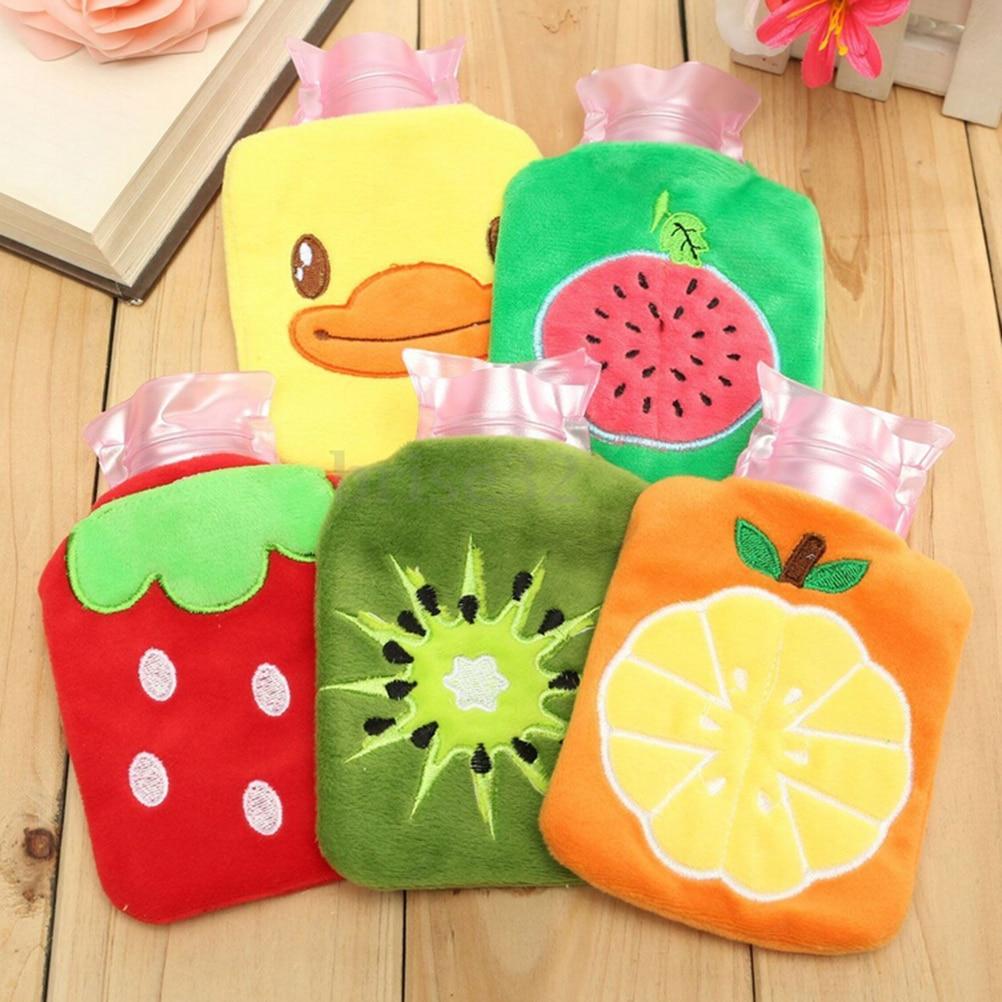 Kauçuk sıcak su şişe çantası el ayak ısınma karikatür peluş sıcak rahatlatıcı isı soğuk açık ev çanta gerekli 1 adet