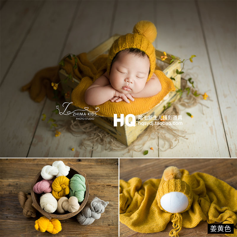 Newborn Photography Accessories Fotografia Acessorio Props Crochet Knit Wrap And Hat Bebe Foto  Handmade Stretchy Swaddle Wrap
