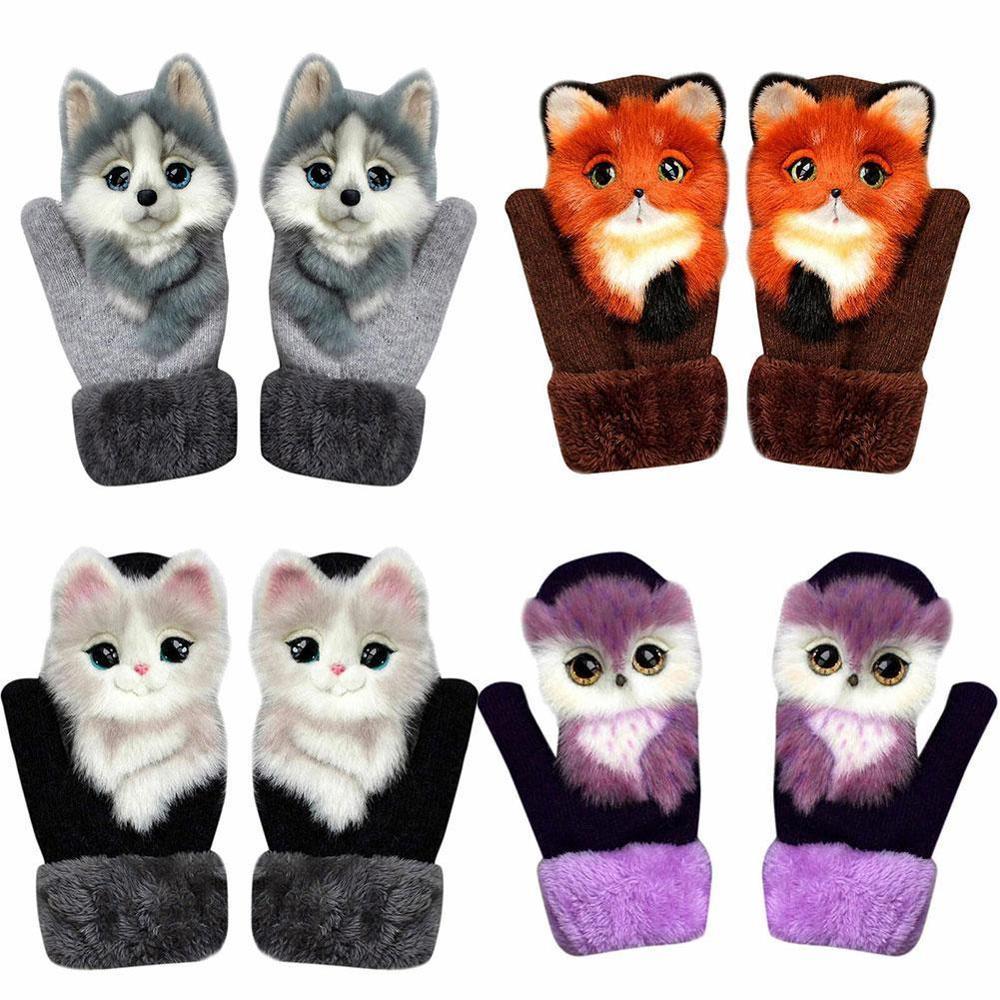 Design Kid Winter Warm Long Cute Girl Fashion Princess Mittens Fingers Soft Gloves Full  Animal Cat Dog Panda Racoon