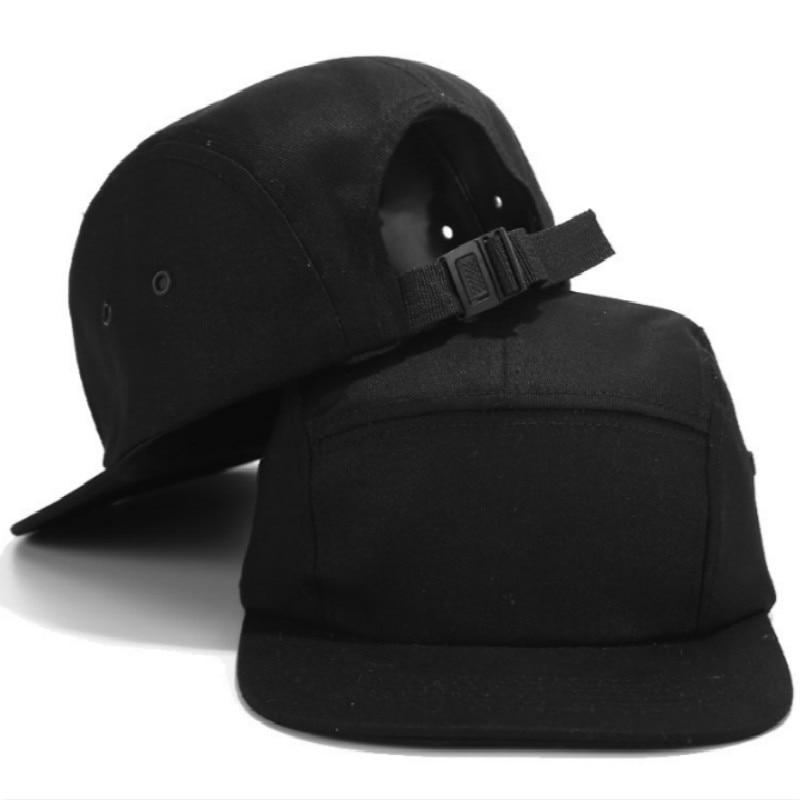 Casual 5 Panel Cap Black Solid Flat Brim Baseball Cap Adjustable Blank Hip Hop Cap Five Panel Snapback Hat Bone Curved Sunhat