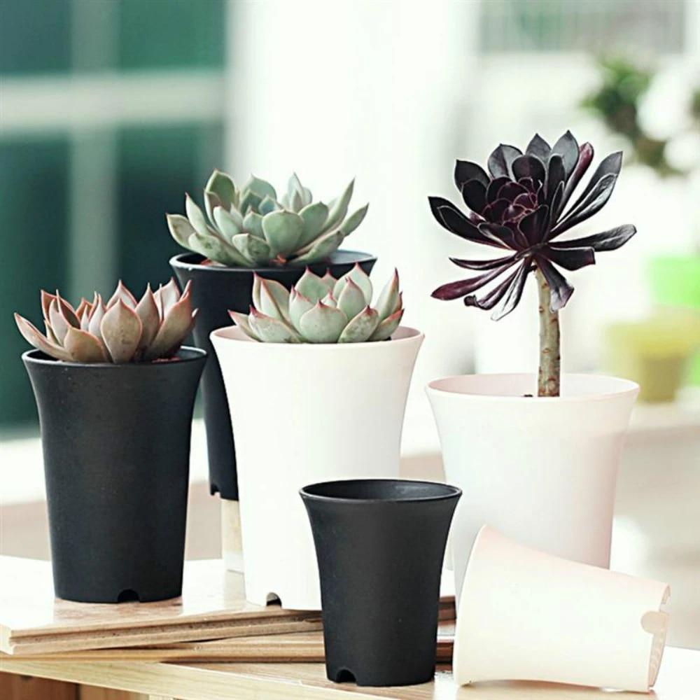 S-Black ALL in ONE 10pcs Mini Plastic Plant Flower Pots for Plants Flowers Succulents Home Office Table Decoration