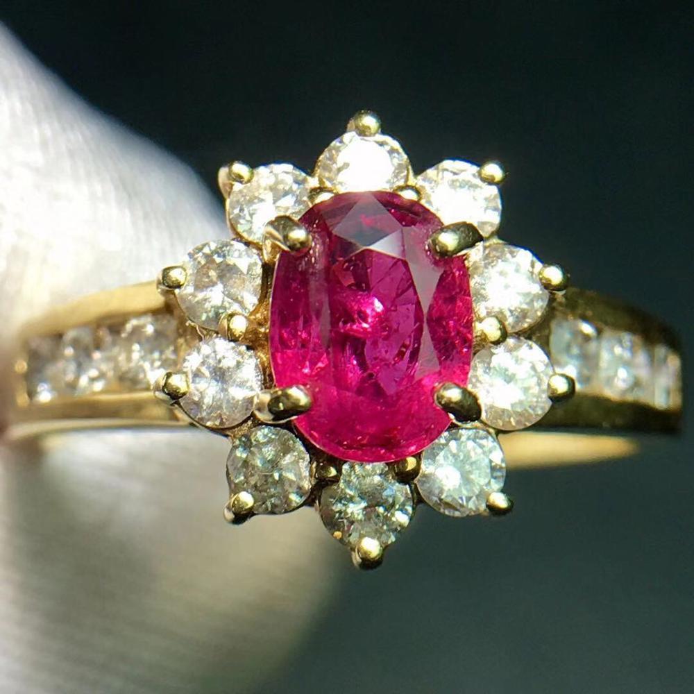 Bague rubis pur 14 K or bijoux véritable naturel 0.95ct rouge rubis diamant bijoux anniversaire bagues pour femmes bagues fines pour femmes