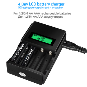 Image 2 - PALO 100% Original 4 Slots LCD display Smart battery Charger for AA AAA Rechargeable Battery 1.2V NI MH NI CD battery batteries