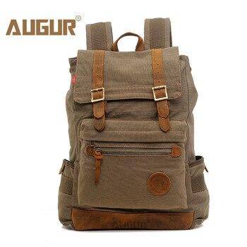AUGUR Canvas Backpack Men'S 17 Inch Large Computer Laptop Backpacks For Men Casual School Bag Pack Travel Big Backbag Mochila