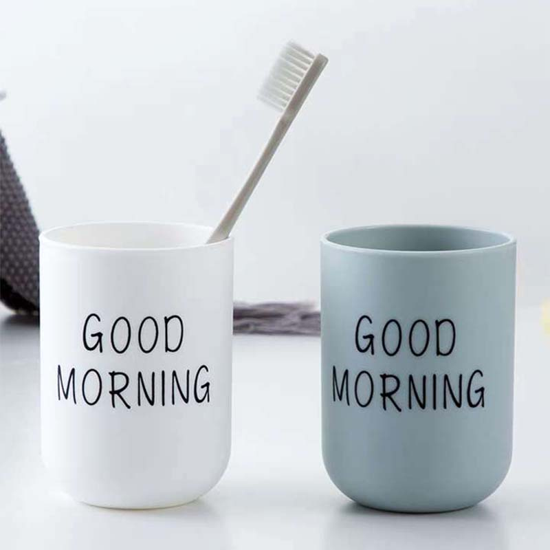1PC Simple Nordic Travel Portable Washing Cup Home Bathroom Couple Plastic Good Morning Toothbrush Holder Cup Storage Cup 2
