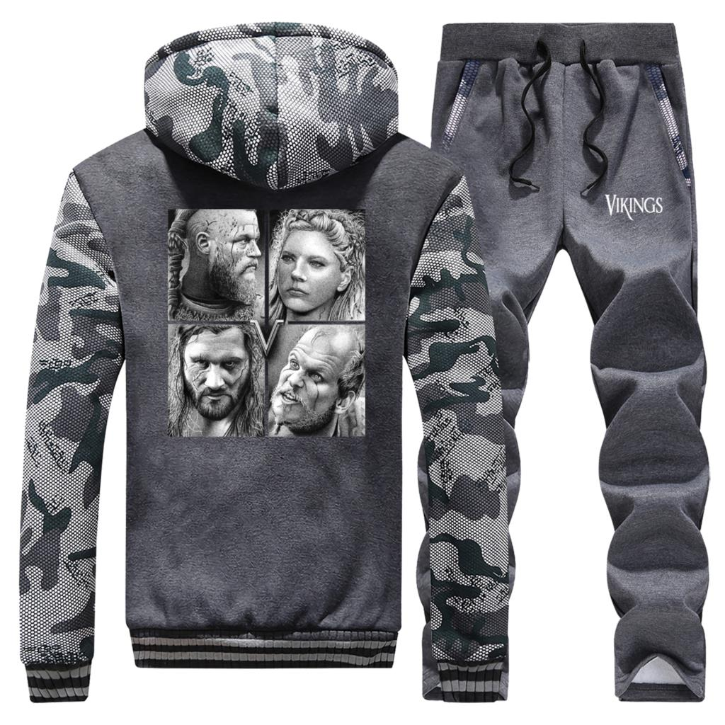 TV Show Viking Men Thick Hoodies Winter Hoodie Sweatshirt Zip Jacket+Pants 2 Piece Sets Warm Suit Hip Hop Brand Men's Tracksuit