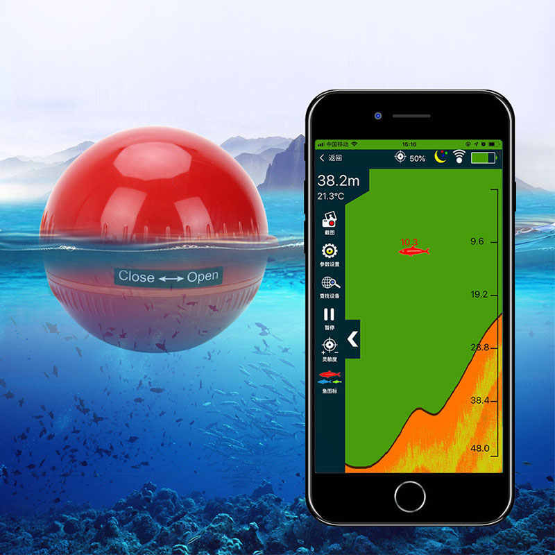 Erchang Fish Finder Senza Fili Portatile Sonar Sensor Trasduttore Rivelatore Fish Finder Bluetooth Ecoscandaglio Ecoscandagli di Pesca