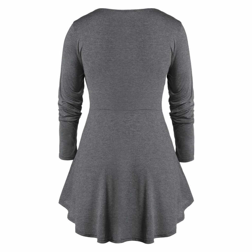 Plus Size Blouse Cross Bandage V-Neck Space Dye Tunic Flare Tee Shirt Long Sleeve Women Solid Tops Vintage Sexy 5XL#EQ