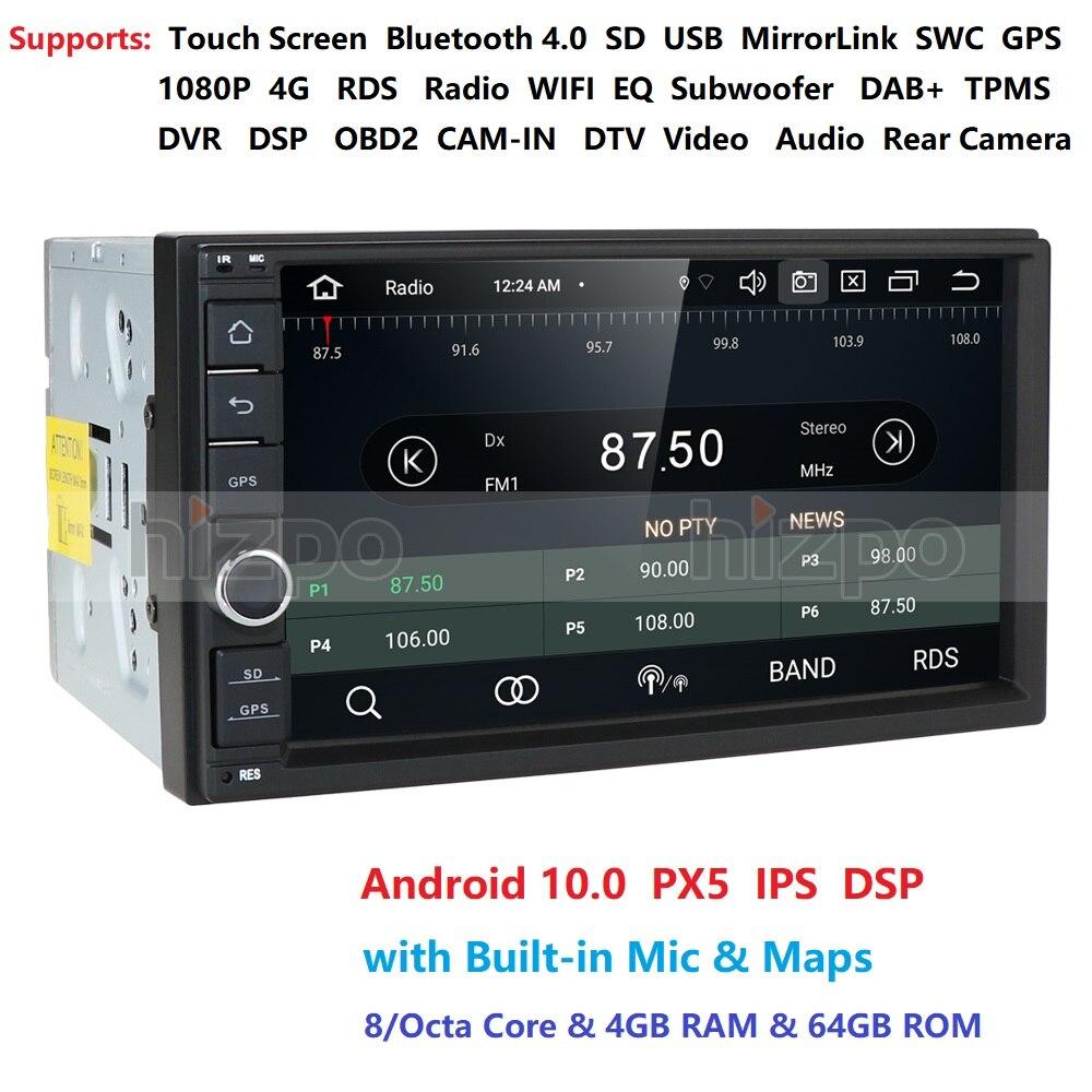 Авто OBD 7 дюймов Android 10 OctaCore 4G 64G Универсальный 2Din без dvd аудио стерео GPS навигация радио наборы автомобильный мультимедийный плеер