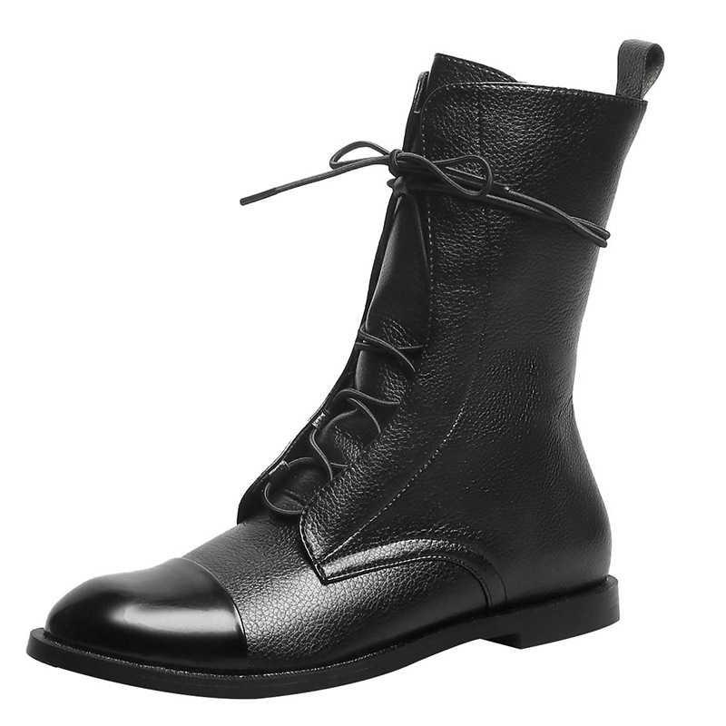 MCCKLE kadınlar Vintage orta buzağı çizmeler kadın PU deri moda Lace Up bayanlar konfor kadın ayakkabı botları rahat kadın ayakkabı