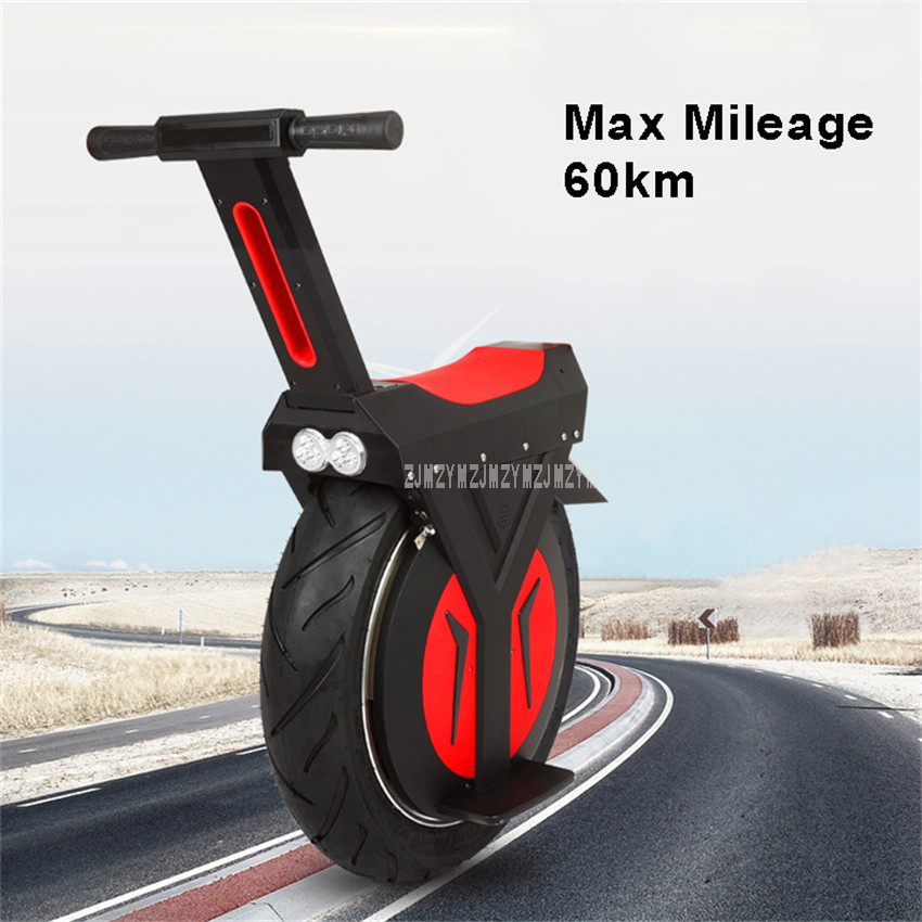Mileage 60km Electric Unicycle One Wheel Balancing Unicycle Electric Scooter Self Balance Electric Scooter 500W Lithium Battery