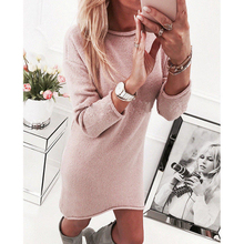 Autumn and winter women knitted sweater dress bottoming shirt sexy casual long-s