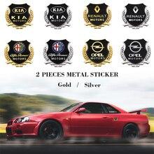2PCS Metal Car Side Sticker Door Badge Stickers Side Window Emblem Decals For Audi BMW