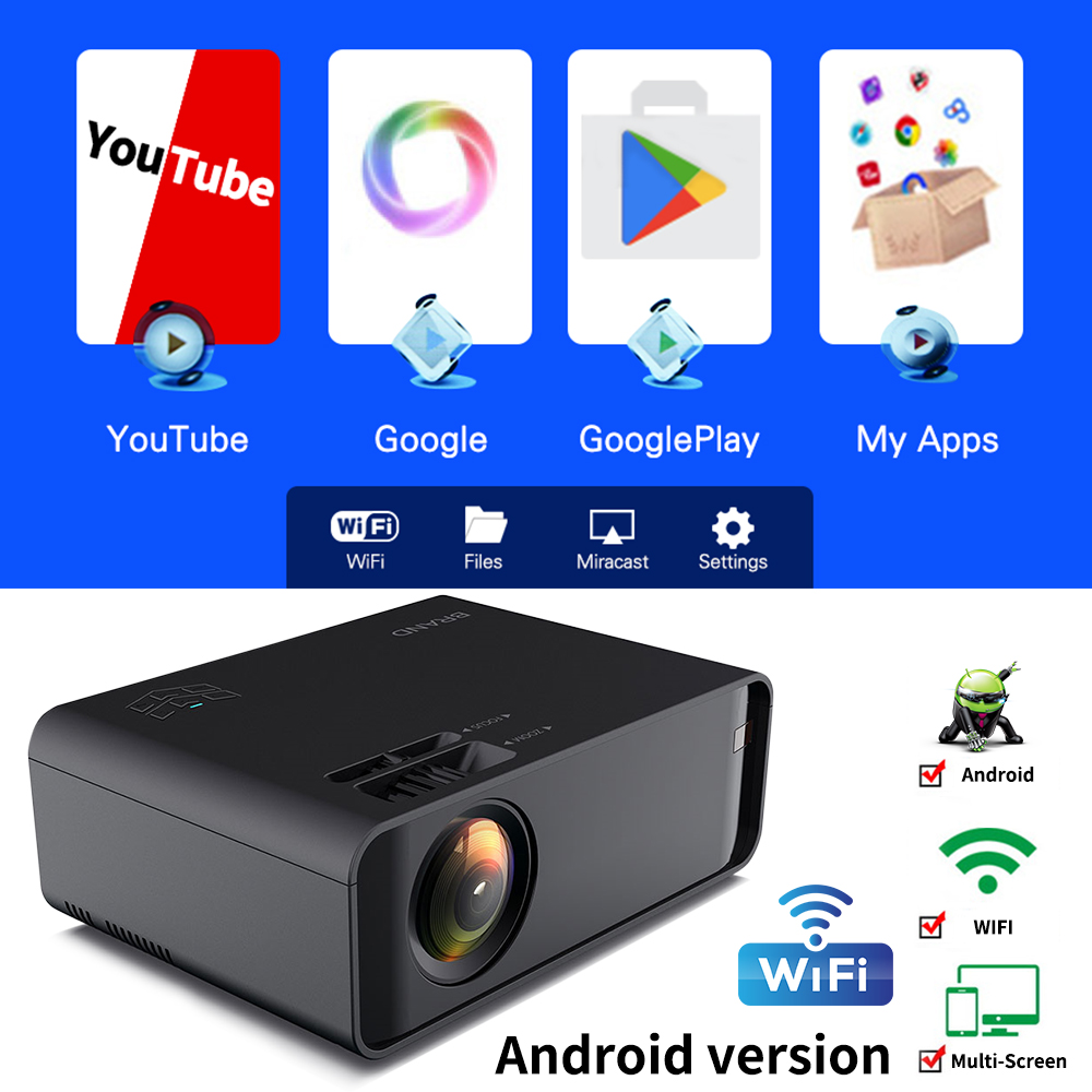 Proyector 2020 Mini LCD LED Projector Type UNIC W80 Full HD Projector 2300 Lumens Beamer Home Cinema Media Player Support 3D 4k