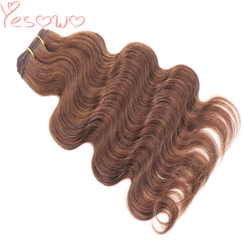 Yesowo Natural Hair Weave Peruvian Body Wave 100g 14-20inch 4# And 2# Good Quality Raw Human Hair Bundles Weave Hair