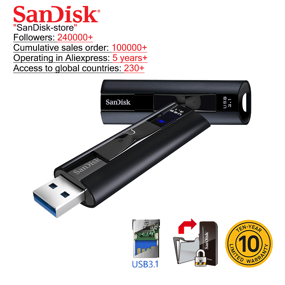 SanDisk Extreme PRO Solid State <font><b>USB</b></font> <font><b>3.1</b></font> <font><b>Flash</b></font> Drive 128GB <font><b>USB</b></font> <font><b>Flash</b></font> Drive 256GB Pen Drive 420mb/s Pendrive Memory <font><b>Usb</b></font> Stick image