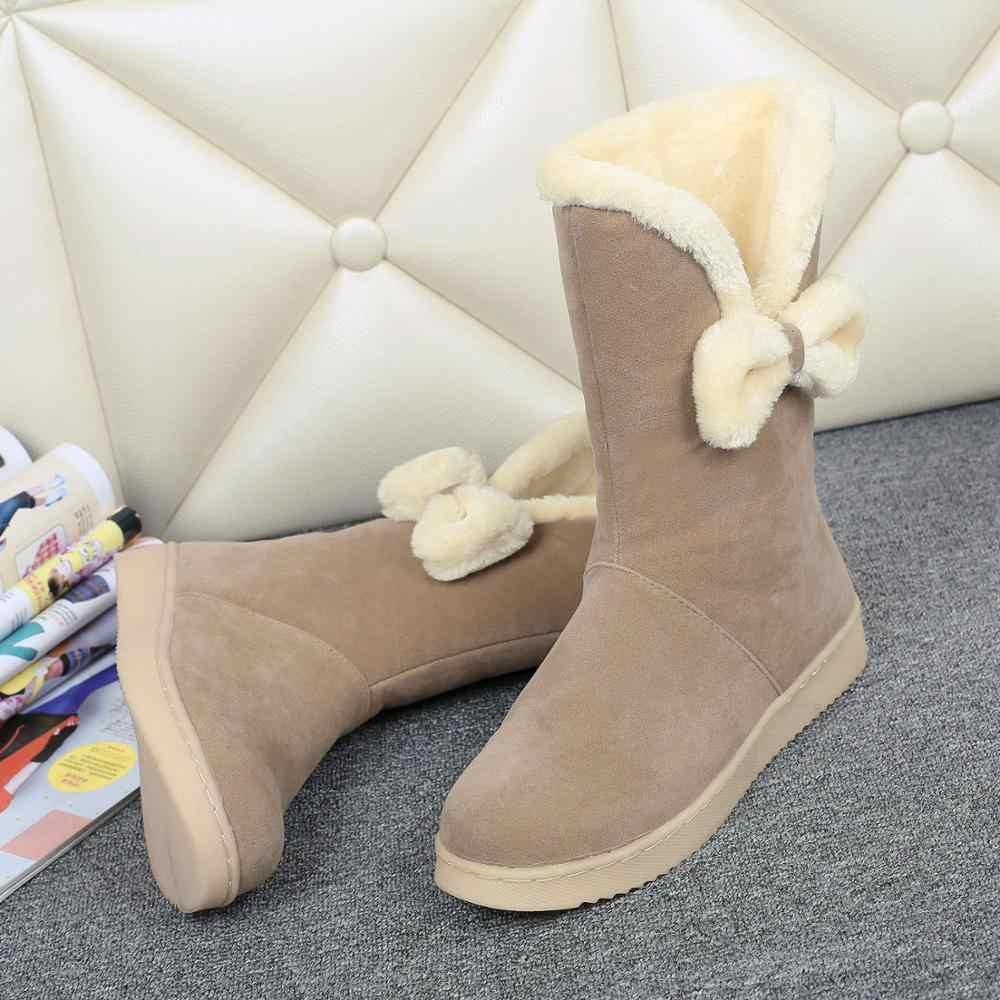 ผู้หญิงกลางลูกวัวรองเท้าบูทรองเท้าหนังรองเท้าแฟชั่นรองเท้าสตรี 2019 ออสเตรเลีย Lace Up ส้นแบนรอบ Toe Elegant Punk หิมะฤดูหนาว