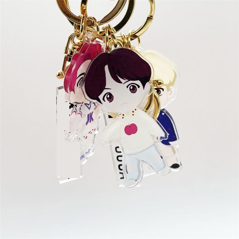 Kpop Bangtan Boys JK Key Rings Keychain Creative Bag Pendant Accessories For Women Jewelry Acrylic Key Holder Keyring Gift 5.5CM