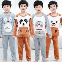 New Girls Boys Pajamas Warm Thicken Autumn Winter Flannel Pijamas Mujer Children coral fleece cartoon Pajamas for Kids pijamas A