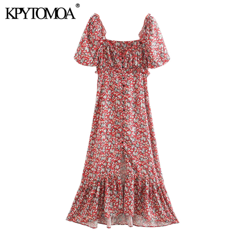 KPYTOMOA Women 2020 Chic Fashion Floral Print Ruffled Midi Dress Vintage Square Collar Short Sleeve Slit Female Dresses Mujer