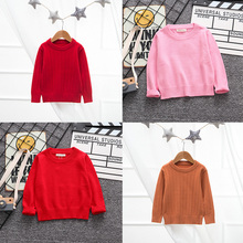 цена на 2019 Autumn Baby Boys Girls Round-neck Sweaters Kids Solid Color for Winter Knitted Bottoming Long Sleeve Clothes