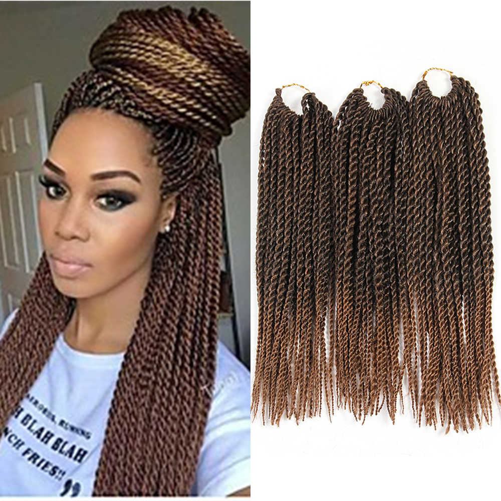Ombre Brown Color Synthetic Senegalese Twist Braiding Hair Extensions 81strands/Pack X-TRESS Heat Resistant Fiber Crochet Braids