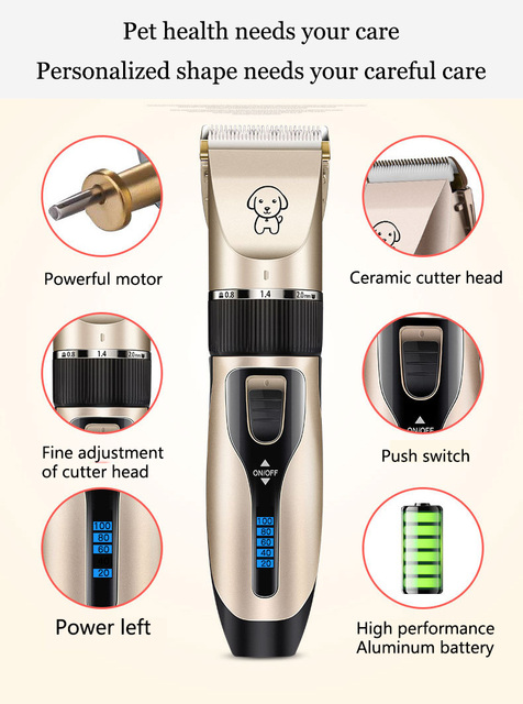 Clipper For Dog Clippers Dogs Grooming Clipper Kit USB Professional Rechargeable Low-Noise Pets Hair Trimmer Display Battery 2