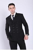 Business Male Suit Slim Double Breasted Men's Business Suit Blue Black Gray Mens Suit Set Fashion Casual Business Suit Suit Men