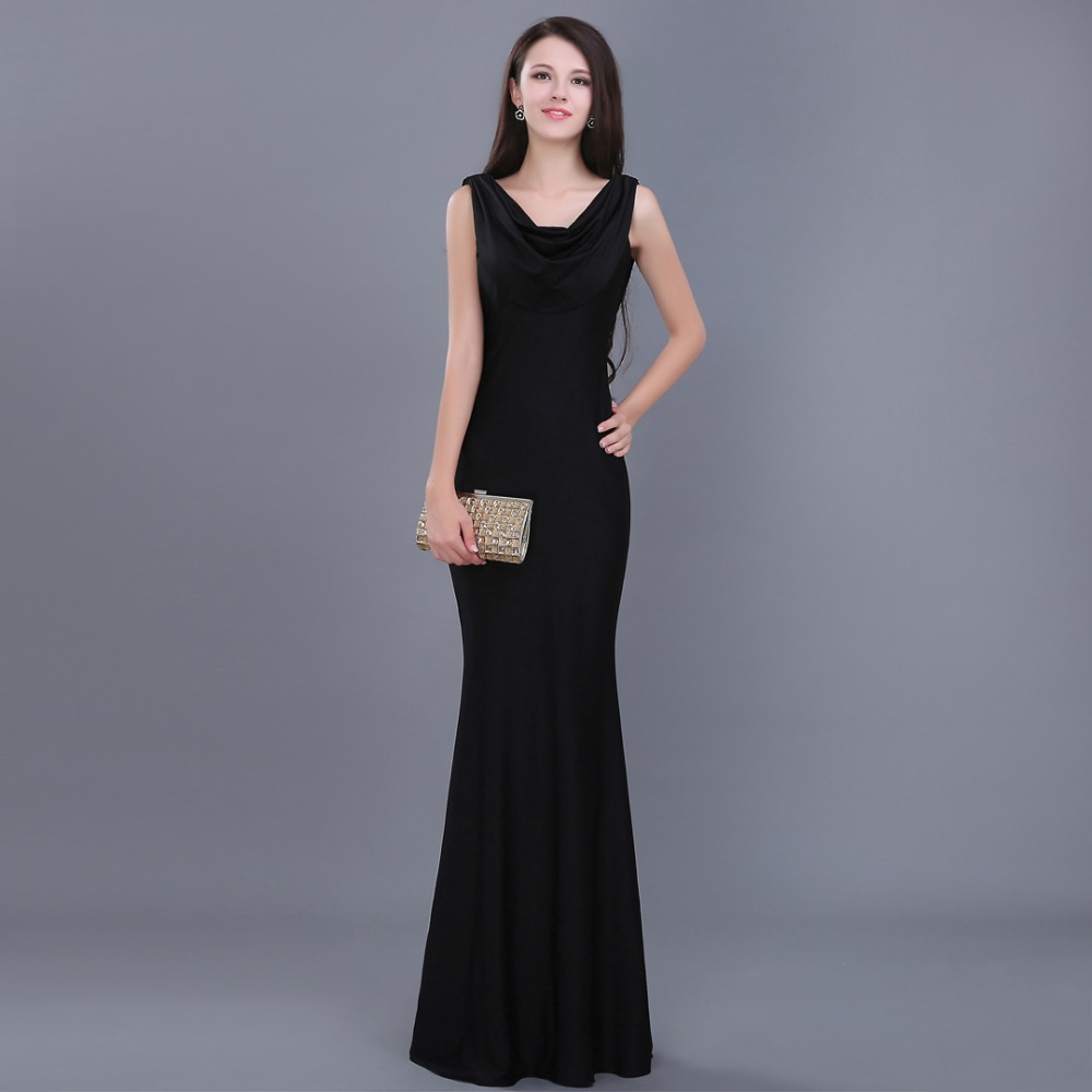 Elegant Cheap Simple Black Long Formal Party Gown 2018 Vestido Robe De Soiree Festa Open Back Real Sample Bridesmaid Dresses