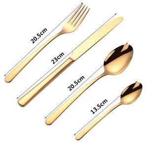 Image 2 - 16 Uds vajilla de acero inoxidable cubiertos conjuntos tenedor cuchara cuchillo CONJUNTO DE de vajillas cocina vajilla cocina herramienta de barbacoa