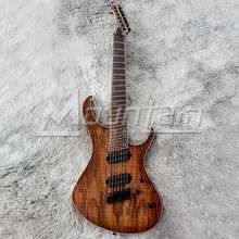 Mountain fanned fret 7 string electric guitar mahogany body Spalted Maple top 9 pieces neck free shipping