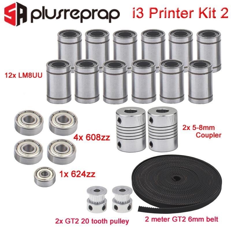 3D Printer Reprap I3 Movement Kit GT2 Belt Pulley 608zz 624zz Ball Bearing LM8UU Linear Bearing 5 x