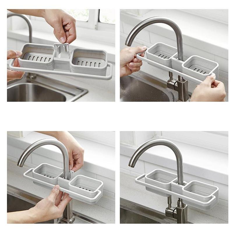 Dish Drying Rack  Drain Rack Storage Organizer Holder Shelf For Sink Faucet Sponge Soap Cloth Kitchen Sink Organizer
