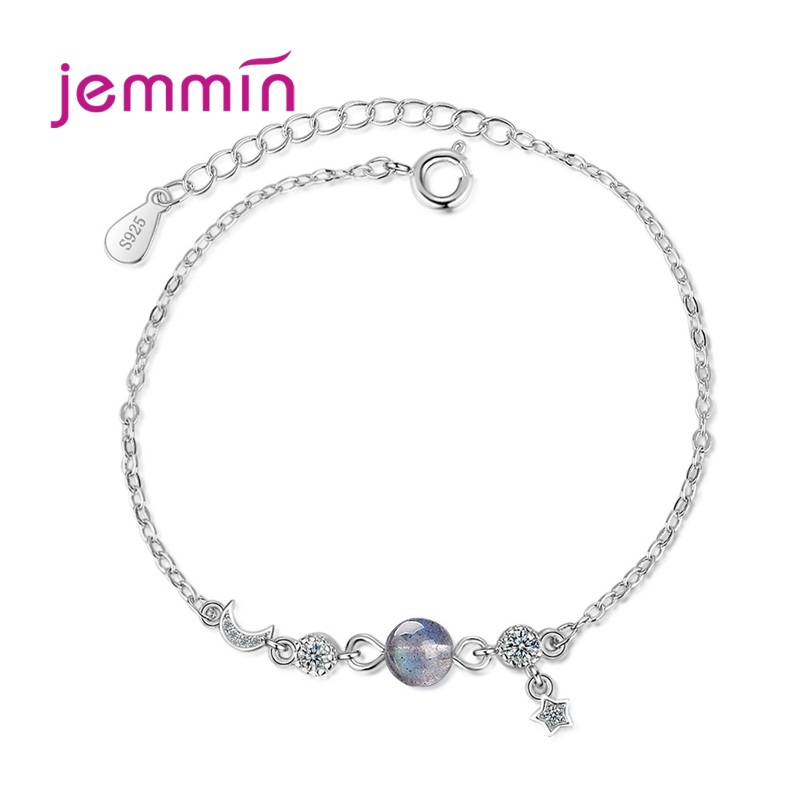 New Fashion 925 Sterling Silver Blue Planet Bracelet Female Lucky Sun & Moon Stars Temperament Jewelry Girls Gifts