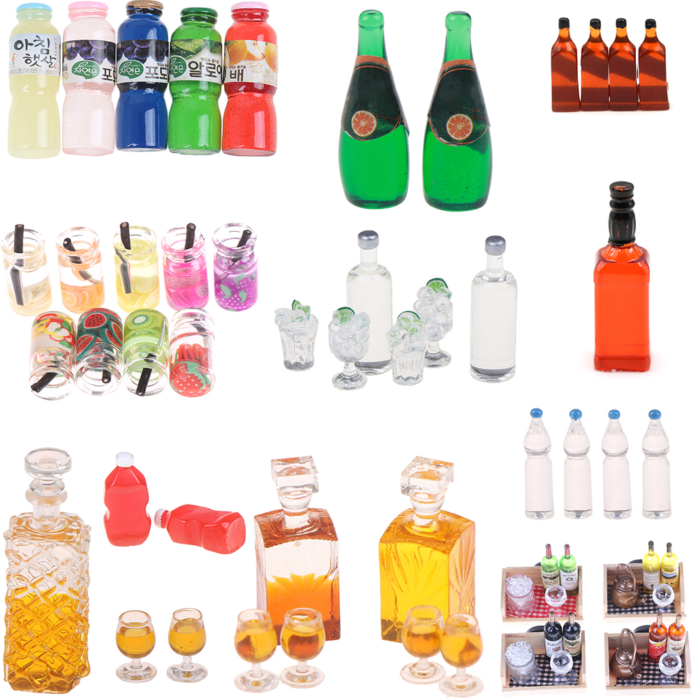 Dollhouse Juice Drink Tomato Sauce Squeeze Water Fruit Wine Bottle Model Food Pretend Play Doll Furniture Toys Kitchen Accessory